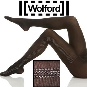 Wolford Silver Dust Metallic Striped 40 Den Tights